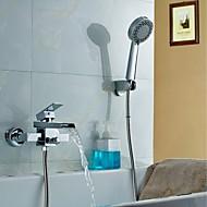 Смеситель для душа / Смеситель для ванны-Современный-Водопад / Термостатический / Дождевая лейка / Ручная лейка входит в комплект-Латунь(