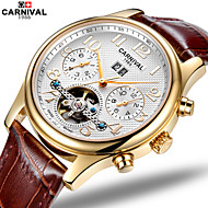 Carnival Men's Skeleton Watch Hollow Engraving Automatic self-winding Leather Band Brown
