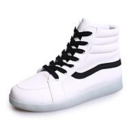 Chaussures Femme-Extérieure / Décontracté / Sport-Noir / Blanc-Talon Plat-Bout Arrondi-Baskets à la Mode-Similicuir