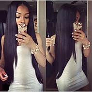 2015 de la moda 10-30inch 100% seda larga pelo virginal peruano peluca recta del frente del cordón color natural
