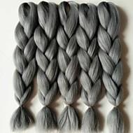 Cinza Box Tranças Jumbo Extensões de cabelo 24inch Kanikalon 3 costa 80-100g/pcs grama Tranças de cabelo