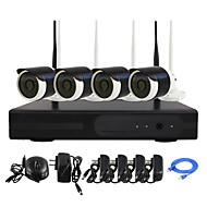 yanse® 플러그 및 4 채널 무선 NVR 키트의 P2P 960P의 HD IR 밤 비전 보안의 IP 카메라 와이파이 cctv 시스템을 재생