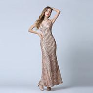 Formal Evening Dress-Gold Trumpet/Mermaid V-neck Ankle-length Tulle / Sequined