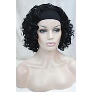 premium kwaliteit natuurlijke kort golvend krullend 3/4 pruik zwarte haarband pruiken gratis verzending