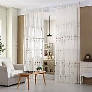 2パネル 田舎風 / 現代風 / 欧風 つる植物 ホワイト リビングルーム ポリ/コットン混 シアーカーテンシェード