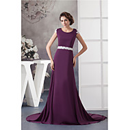 Formal Evening Dress A-line Jewel Court Train Chiffon / Lace with Appliques