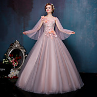 Princess Wedding Dress Wedding Dresses in Color Court Train Bateau Lace / Tulle with Appliques / Beading / Crystal / Flower / Lace / Pearl