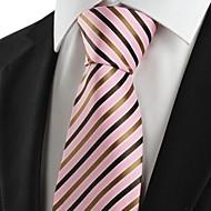 New Striped Brown Pink Men's Tie Suit Necktie Wedding Party Holiday Gift #1035