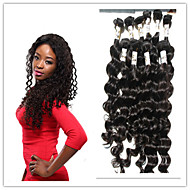 4Pc/Lot Virgin Human Hair 100% Peruvian Hair Natural Color Deep Wave Hair Weft Bundles Hair