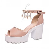 Women's Shoes Leatherette Chunky Heel Peep Toe Sandals Wedding / Office & Career / Party & Evening Blue / Pink / White