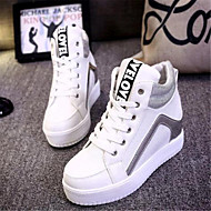Women's Spring Fall Leatherette Outdoor Casual Wedge Heel Lace-up Black White