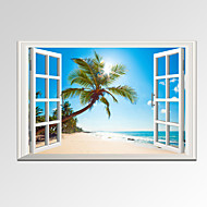 VISUAL STAR®Modern Window View Palm Tree on Beach Canvas Wall Art Seascape Photograph Print Ready to Hang