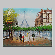 Mini Size Hand-Painted Paris Eiffel Tower Landscape Modern Oil Painting On Canvas One Panel Ready To Hang 20x25cm
