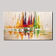 Hand-Painted Thick Color Sailing Abstract Landscape Modern On Canvas One Panel Ready To Hang