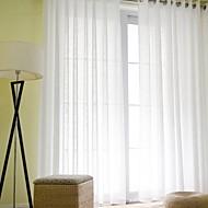2パネル ウィンドウトリートメント 近代の , ソリッド リビングルーム リネン/ポリエステル混 材料 シアーカーテンシェード ホームデコレーション For 窓
