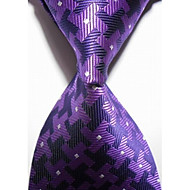 New Checked Purple Black JACQUARD WOVEN Men's Tie Necktie #3010