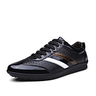 Men's Shoes Leather Outdoor / Office & Career / Casual Fashion Sneakers Outdoor / Office & Career / Casual Flat Heel Lace-up Black