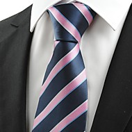 New Striped Pink Blue JACQUARD Men's Tie Necktie Wedding Party Holiday Gift#0010