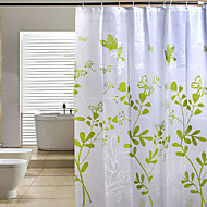 200 * 180 Butterfly Leaves Green PEVA Shower Curtain