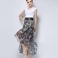 Women's Floral Blue / Purple Skirts,Casual / Day Asymmetrical