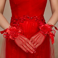 Até o Pulso Com Dedos Luva Cetim Renda Arrastão Luvas de Noiva Luvas de Festa Floral Renda