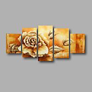El-Boyalı Soyut / Çiçek/BotanikModern Beş Panelli Kanvas Hang-Boyalı Yağlıboya Resim For Ev dekorasyonu