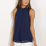 Women's Solid Blue Blouse,Halter Sleeveless
