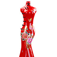 Modern Cheongsam Ceramic Craft Ornaments for Home Decoration 1pc