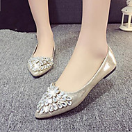 Women's Shoes Rhinestone Shine Leatherette Low Heel Comfort / Pointed Toe Flats Office & Career / Dress