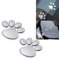 ziqiao 2pcs / lotto elegante argento impronta emblema adesivi 3d auto accessori auto buffo orso zampa di animale da compagnia