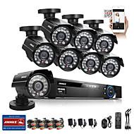 annke® 8ch sistema de circuito cerrado de televisión 960 H DVR 8pcs aire libre del CCTV kits de vigilancia de la cámara sistema de