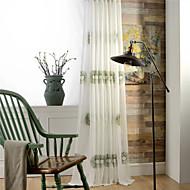 Dvije zavjese Zemlja / Moderna / Neoclassical / Mediterranean / Europska Cvjetni / Botanički / List / Loza Bež / Zelen / Zlato Living Room
