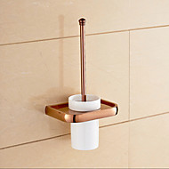 Rose Gold Wall Mounted Brass Material Toilet Brush Holder