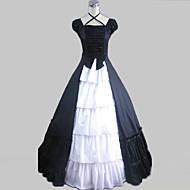 One-Piece/Dress Sweet Lolita Vintage Inspired Cosplay Lolita Dress Black Vintage Cap Short Sleeve Long Length Dress For Cotton Satin