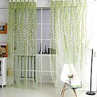 פאנל אחד גס עלי גפן ירוק / סגול חדר שינה פוליאסטר Sheer וילונות גוונים