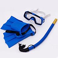 Snorkelpakker Svømmebriller Dykking Finner Snorkelsett Dykking og snorkling Svømming PVC Blå