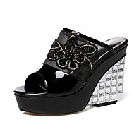 Women's Shoes Leather / Tulle Wedge Heel Wedges / Peep Toe / Platform Sandals Party & Evening / Dress Black / White