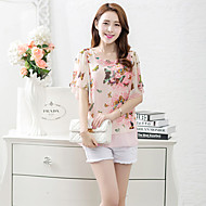 Women's Going out Simple / Street chic Blouse,Floral Round Neck Short Sleeve Blue / Pink Polyester Thin