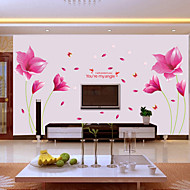 Wall Stickers Wall Decals Style Romantic Pink Orchid PVC Wall Stickers