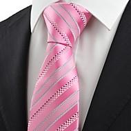 Галстук(Серый / Розовый,Полиэстер)В полоску