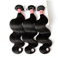 """3 db 8. tétel """"-28"""" brazil szűz haj test hullám, hullámos természetes fekete emberi haj sző kötegek kusza ingyenes hajhosszabbítás"""