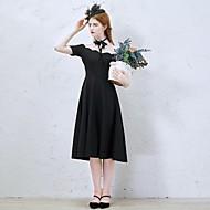 Cocktail Party Dress-Black A-line Off-the-shoulder Tea-length Stretch Satin