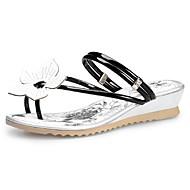נעלי נשים-סנדלים-עור-פלטפורמות / טבעת אצבע-שחור / כסוף-שטח / שמלה / קז'ואל-עקב וודג'