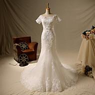 Trumpet/Mermaid Wedding Dress-Ivory Short Sleeve Chapel Train Square Lace / Satin / Tulle