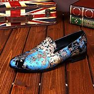 מוקסינים גברים של נעליים חתונה / מסיבה וערב עור כחול / ורוד