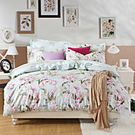Simple Elegant,  High-end Full Cotton Reactive Printing Pattern Cartoon Bedding Set 4PC, Queen/ Full Size Quality Goods