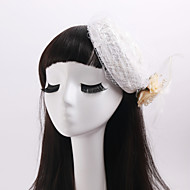 Women's / Flower Girl's Lace / Feather / Fabric / Net Headpiece-Wedding / Special Occasion / Casual Fascinators 1 Piece