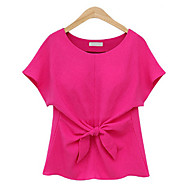 Women's Casual/Daily Plus Size / Street chic Summer Blouse,Solid Round Neck Short Sleeve Blue / Red / White Polyester Thin