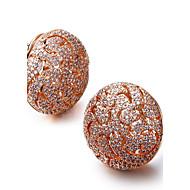 עגיל עגילים צמודים תכשיטים 2pcs זירקוניה מעוקבת / מצופה פלטינום נשים כסף