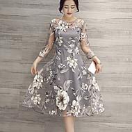 Vrouwen Street chic A-lijn Bloemen Jurk-Tot de knie Ronde hals Polyester